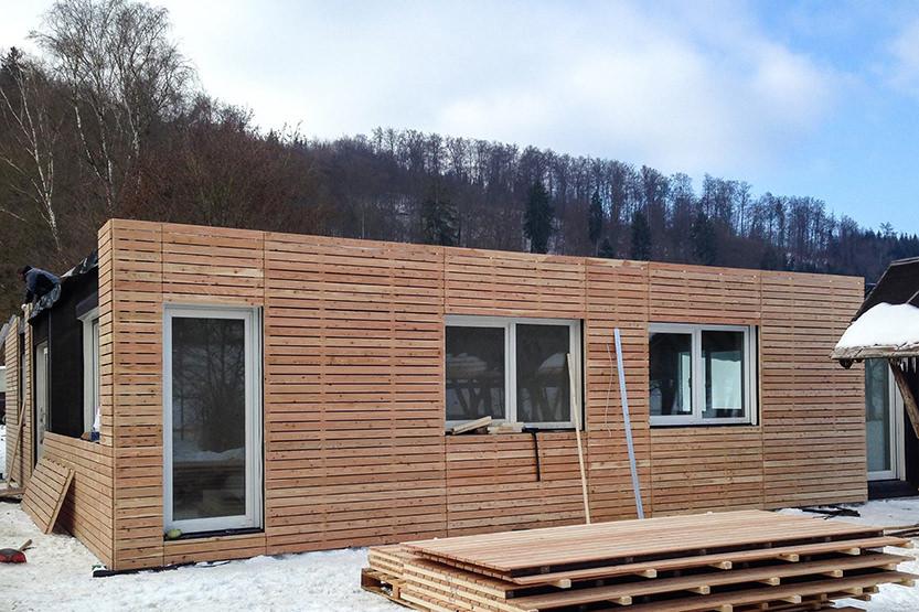 Aufbau der Schule auch bei Schnee