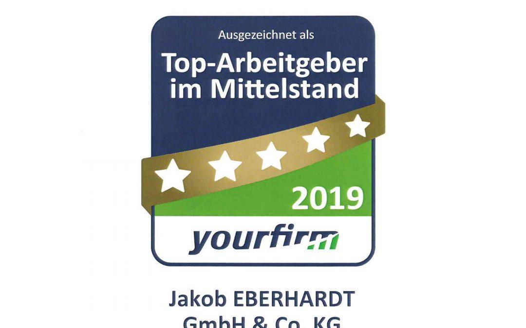 EBERHARDT zum Top-Arbeitgeber im Mittelstand ausgezeichnet